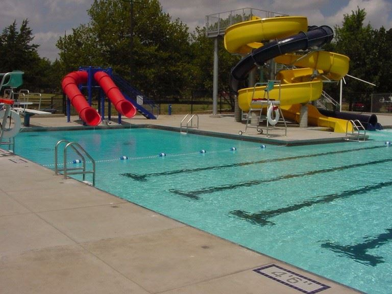 Deep end of the pool with water slides