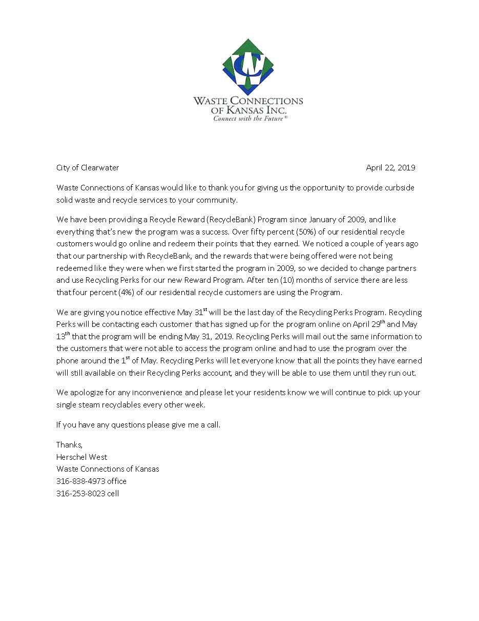 Recycling Perks Letter April 2019