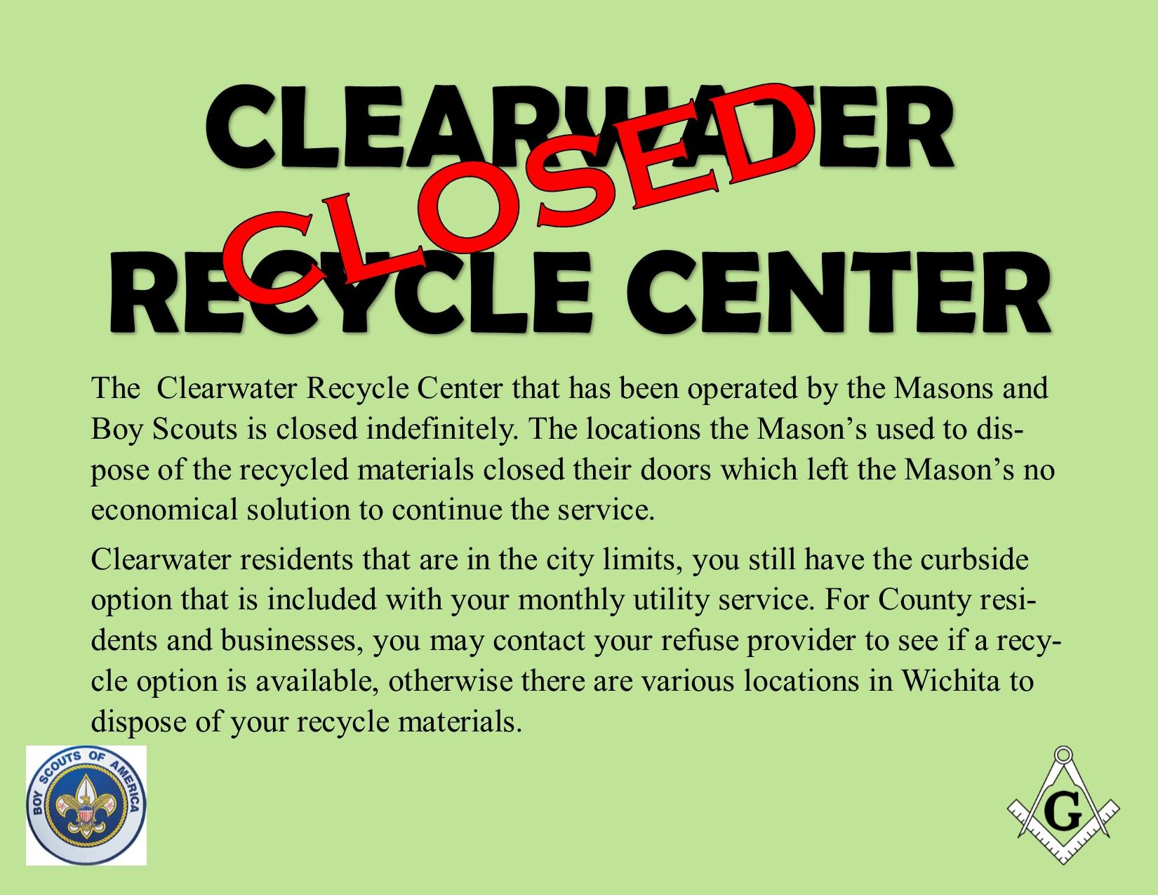 Recycle Center Closed 2019